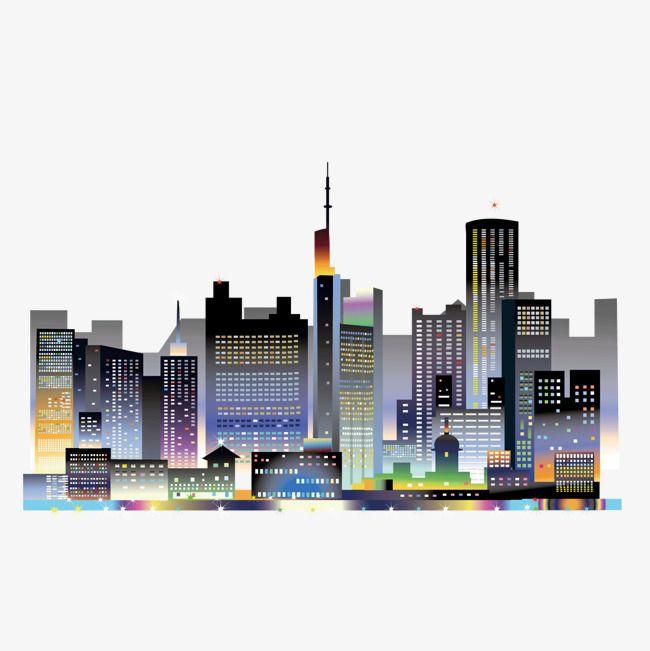 Vector Cartoon Lights Bright City Night Sky Landscape, Cartoon.