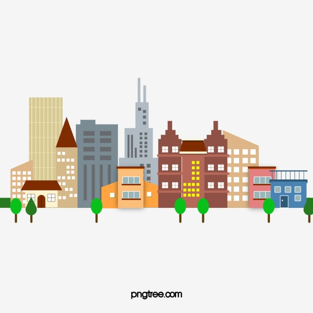 Cartoon City Pattern, Flat, City, Cartoon PNG and Vector with.