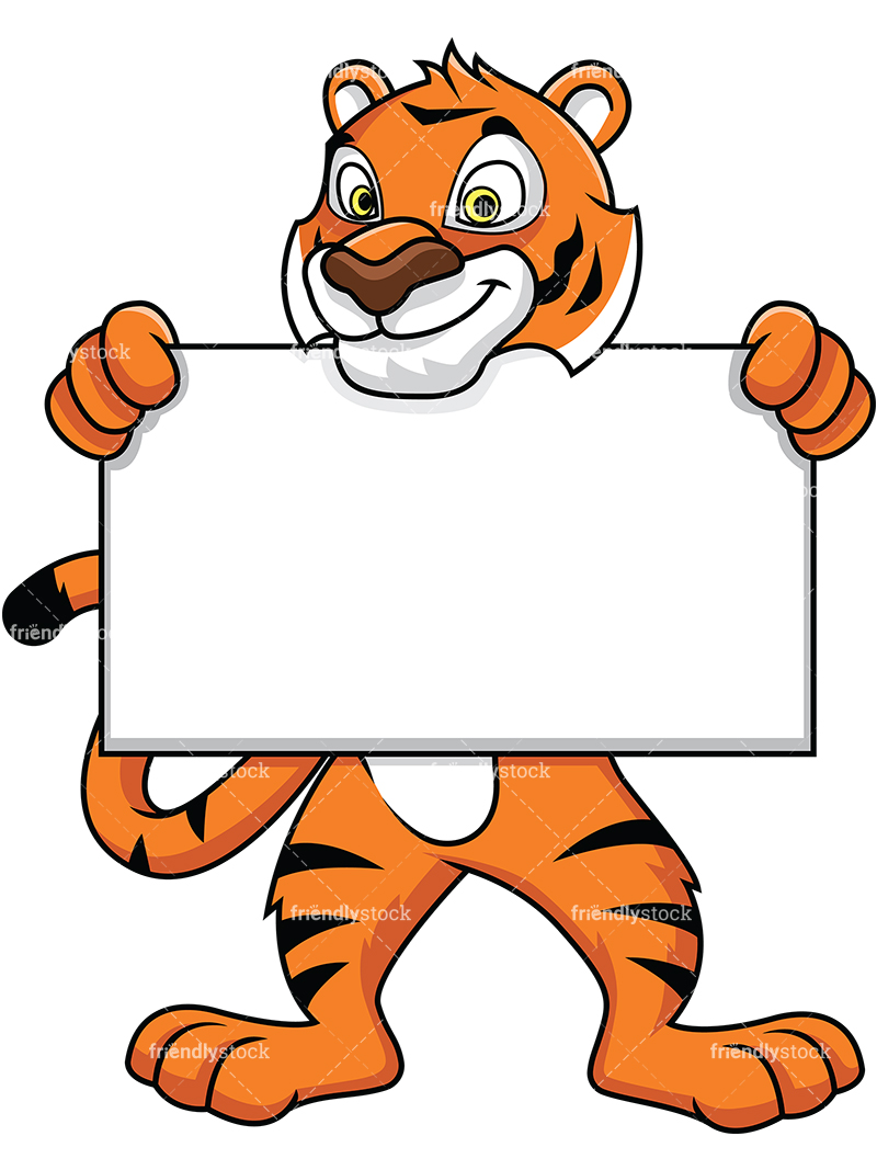 Tiger Mascot Holding An Empty Sign.