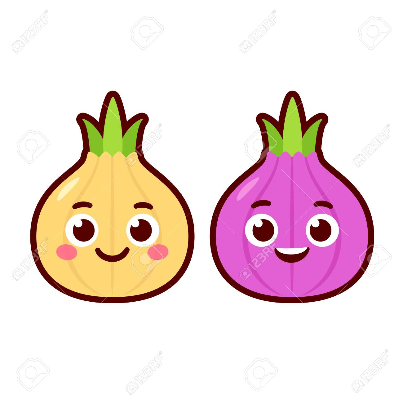 Cute cartoon onion characters, red and yellow onions. Vector...