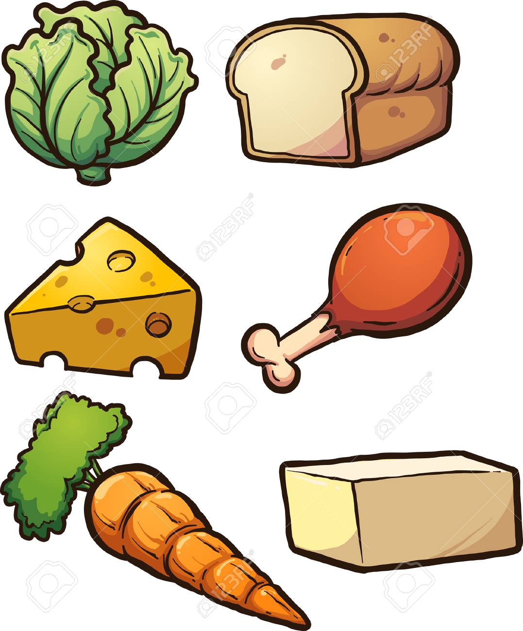 Cartoon food items. Vector clip art illustration with simple...