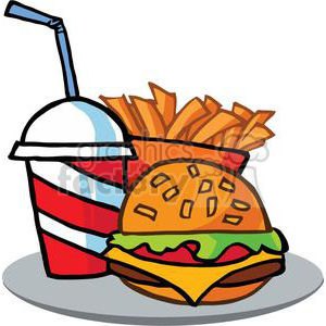 Fast Food Hamburger Drink And French Frieson A Serving Platter clipart.  Royalty.