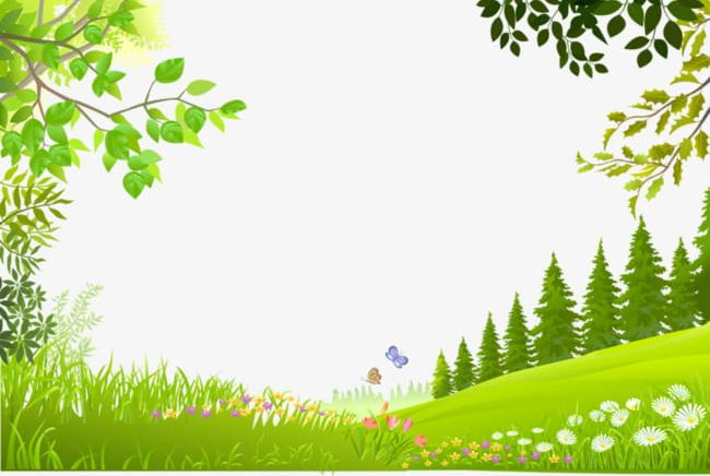 Cartoon Trees Plants Green Grass Background Material PNG.