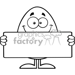10935 Royalty Free RF Clipart Black And White Cute Egg Cartoon Mascot  Character Holding A Blank Sign Vector Illustration clipart. Royalty.