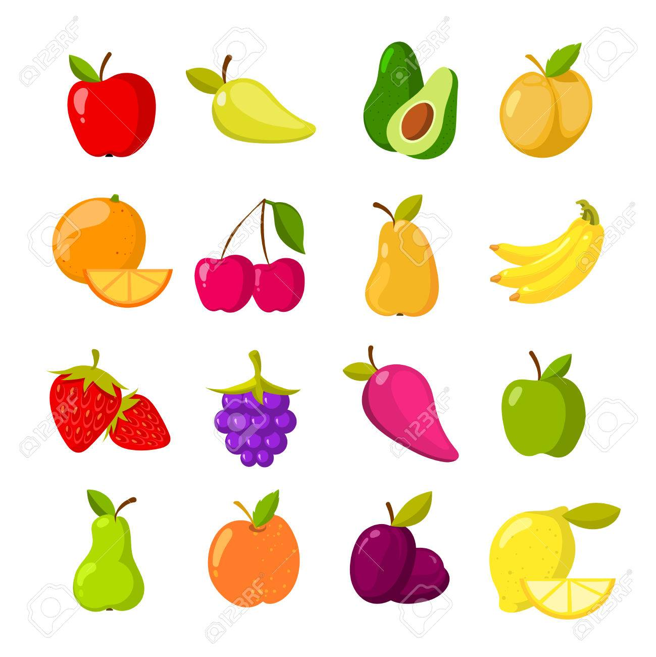 Cartoon fruits vector clipart collection isolated.