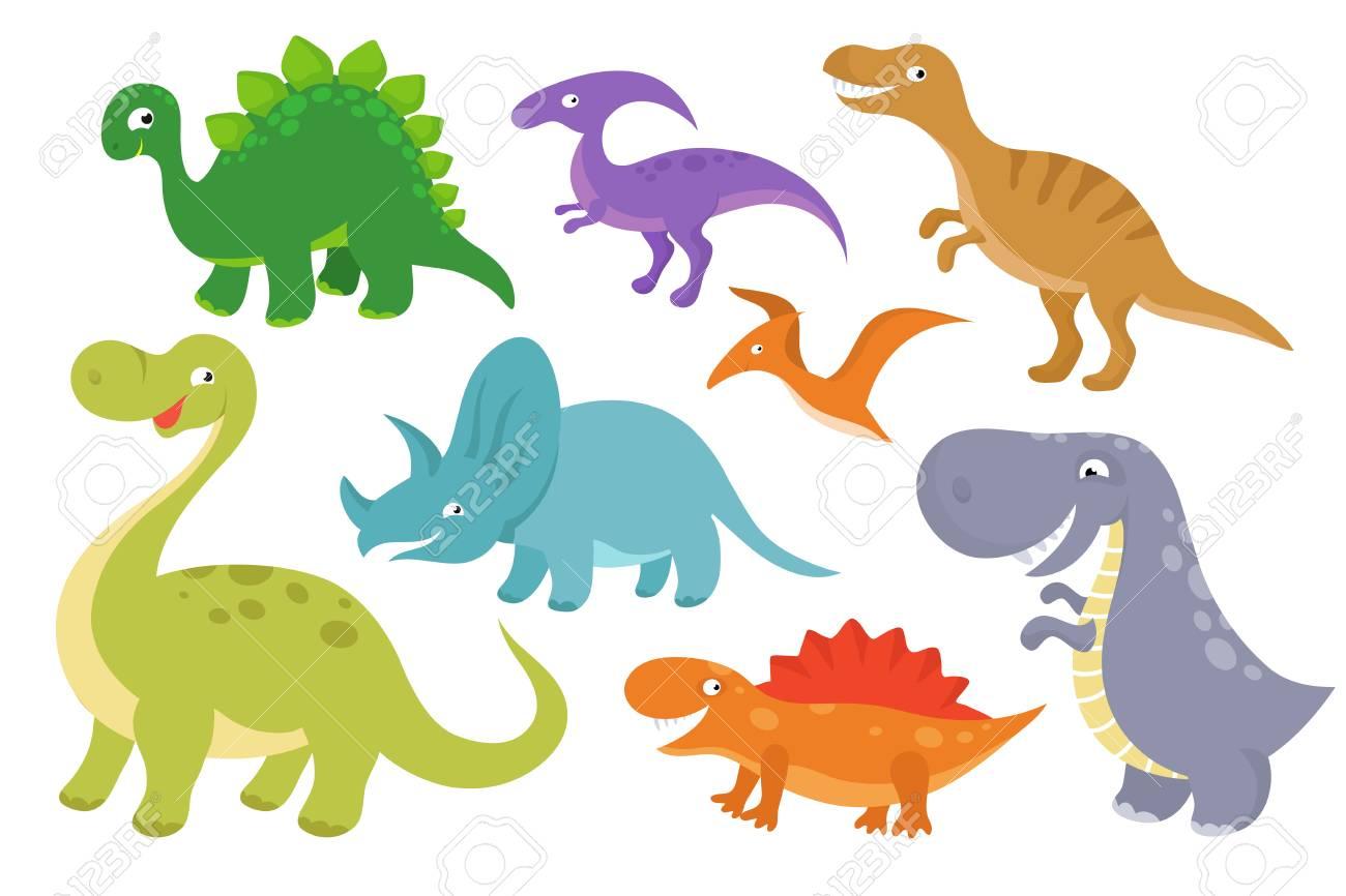 Cute cartoon dinosaurs vector clip art. Funny dino chatacters...
