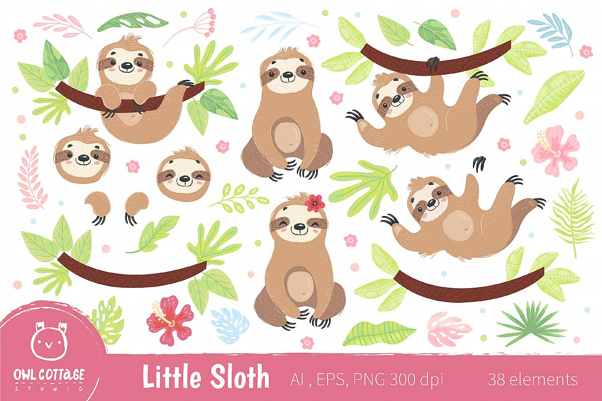 Cute Sloth Clipart Collection, Vector and Png, Easy SCALABLE.