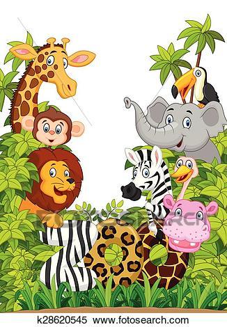 Cartoon collection happy animal zoo Clipart.