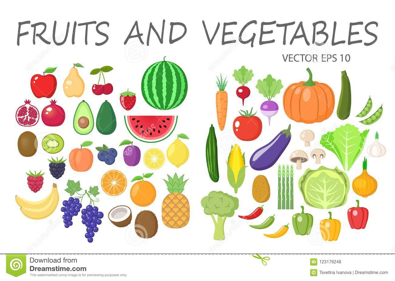 Colorful Fruits And Vegetables Clipart Set. Fruit And Vegetable.