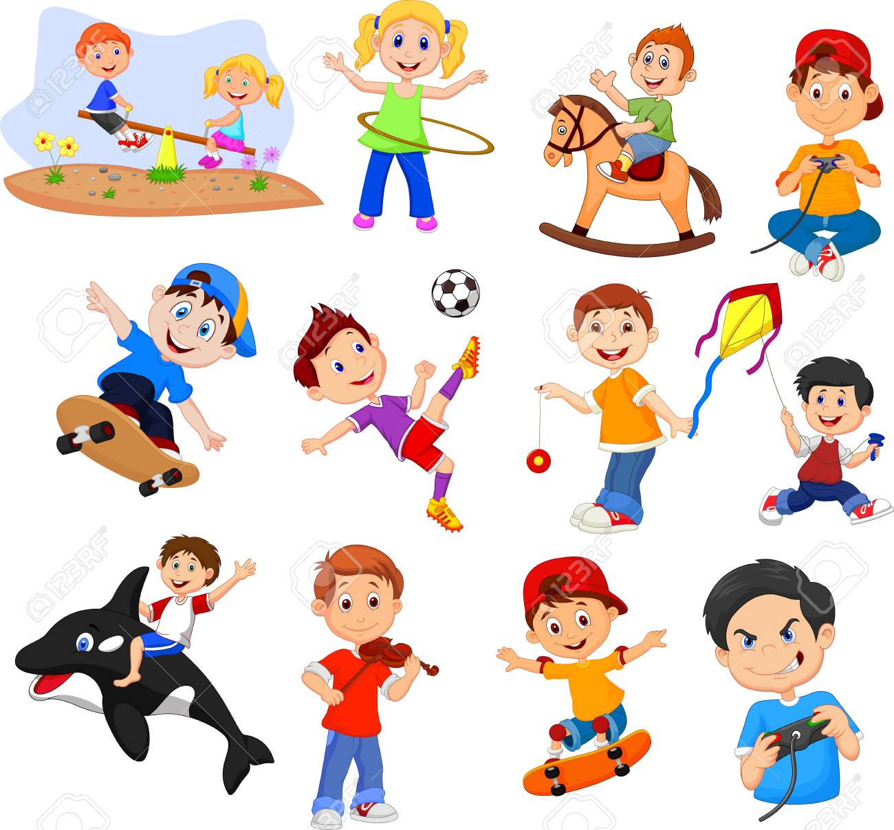 Cartoon kids with different hobbies collection set.