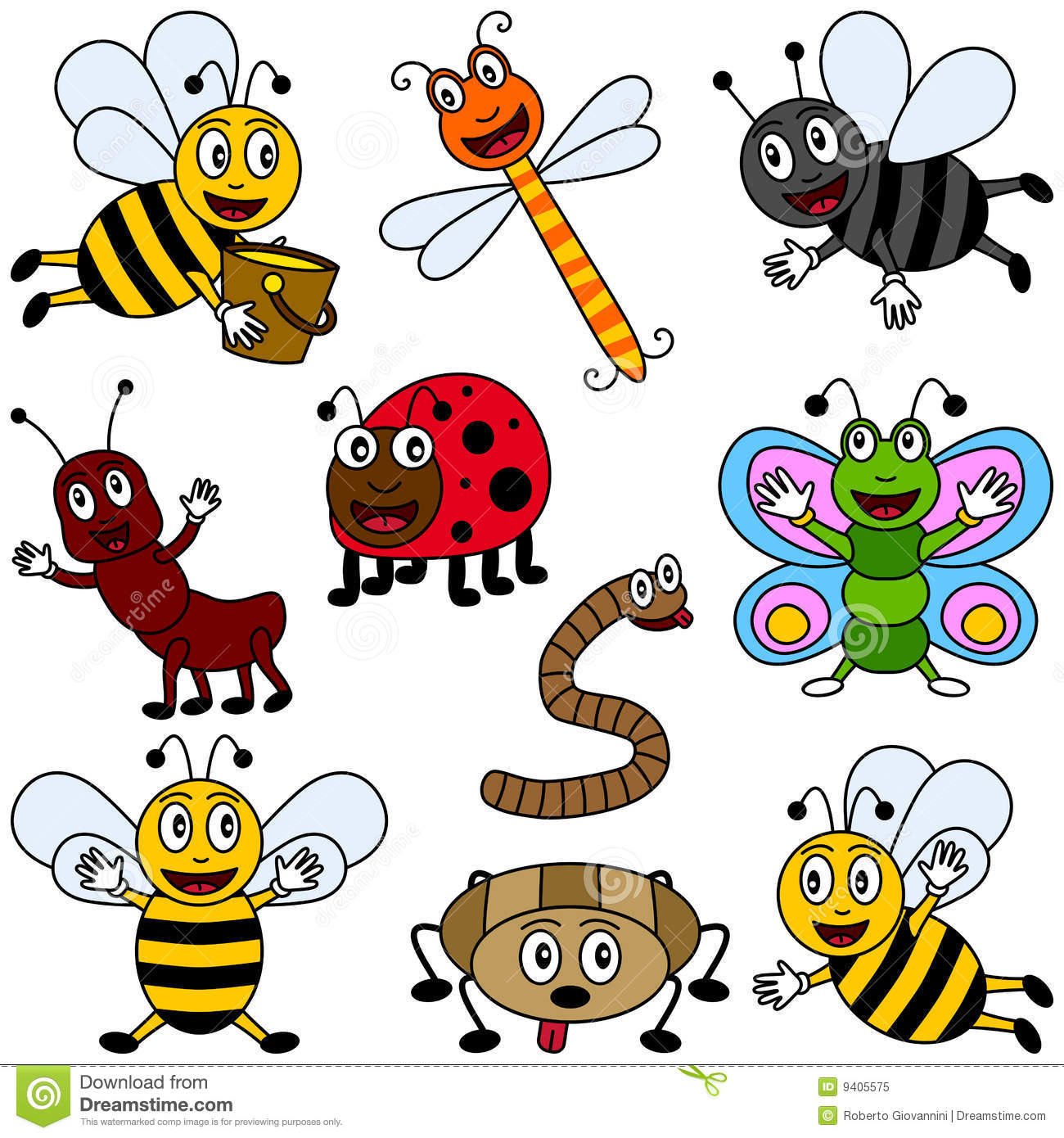 Cartoon Insects Collection stock vector. Illustration of bluebottle.