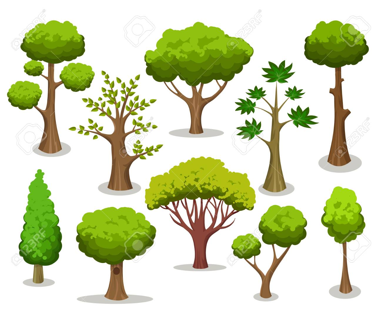 Tree collection. Cartoon natural trees clipart isolated on white...