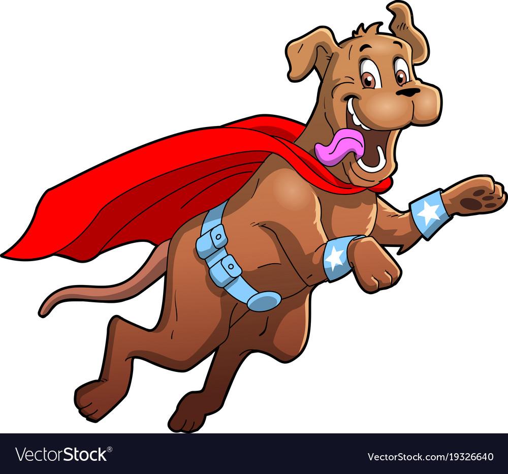 Dog superhero pet cartoon clipart.