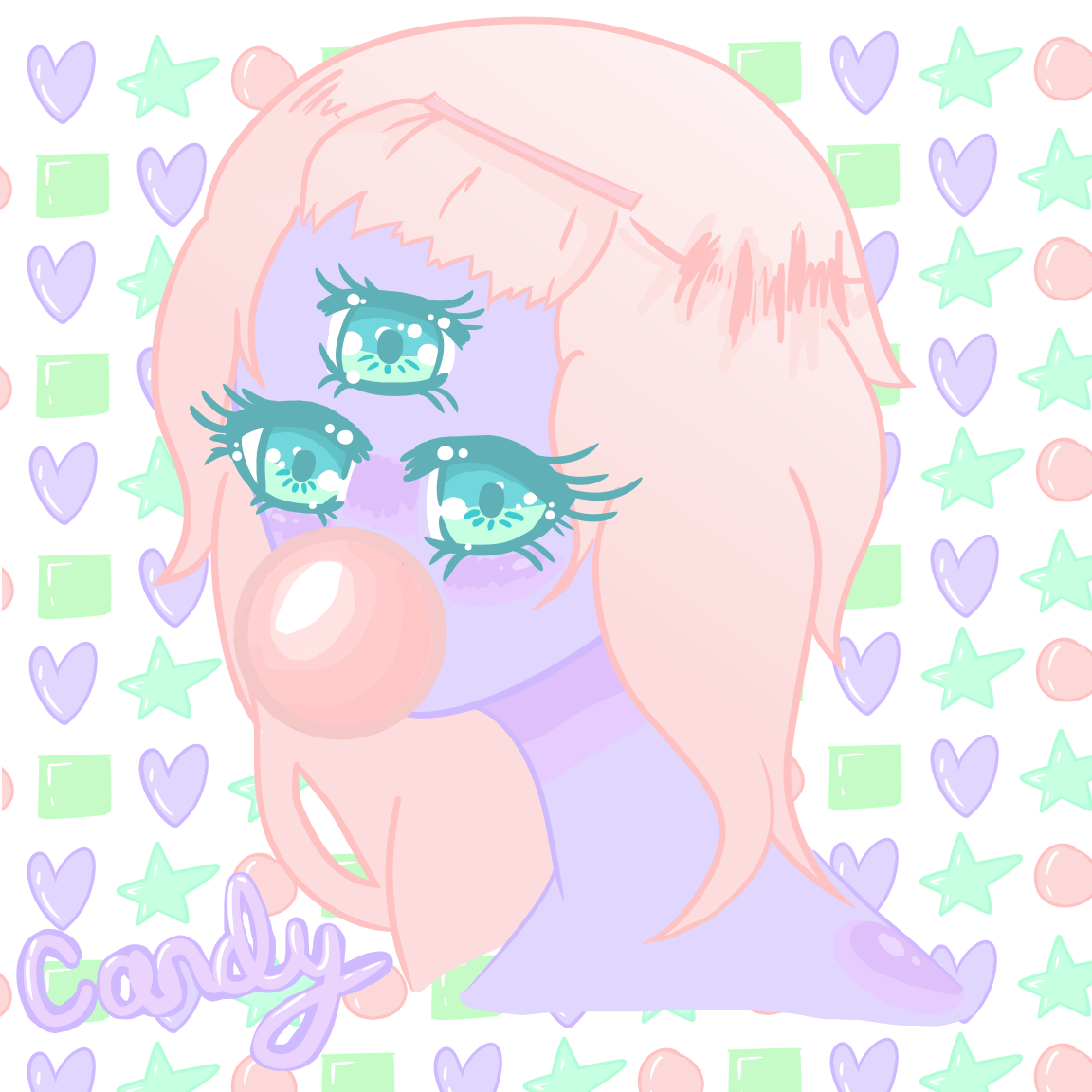 candy kawaii anime girl monster three eyed drawing digital art.
