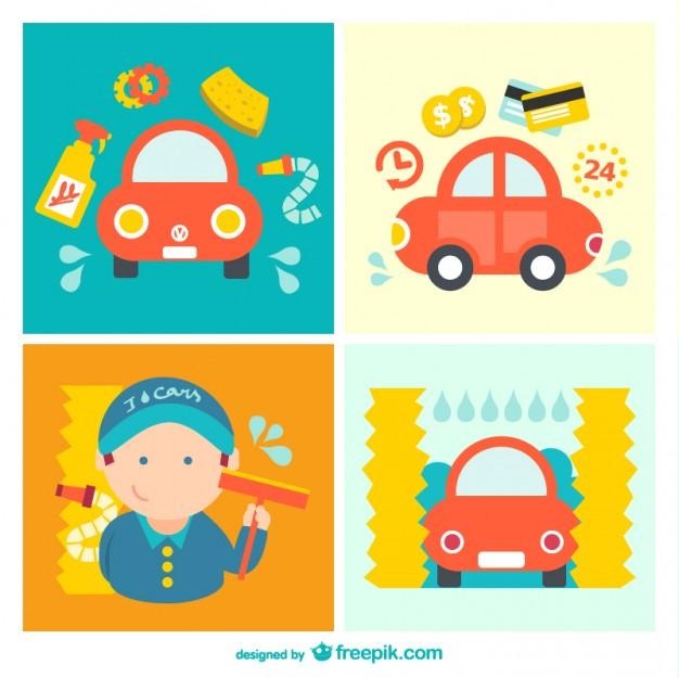 Car Wash Cartoon Pack Free Vector.