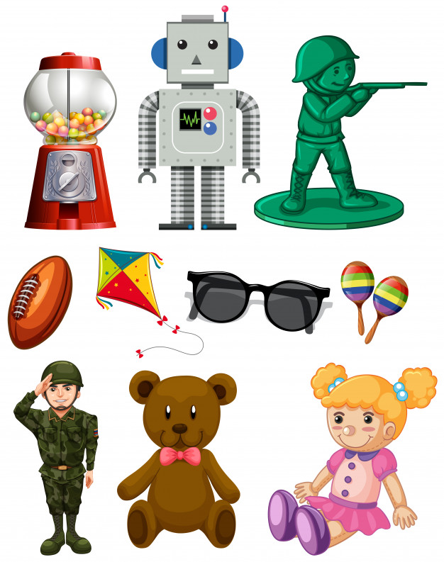 Isolated cartoon toy pack Vector.