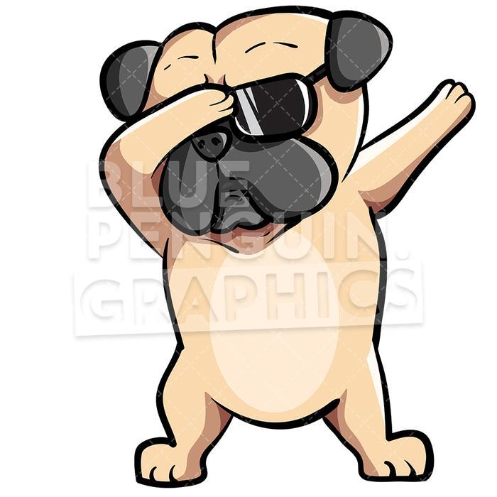 Pug Dog Dabbing Vector Cartoon Clipart Illustration.