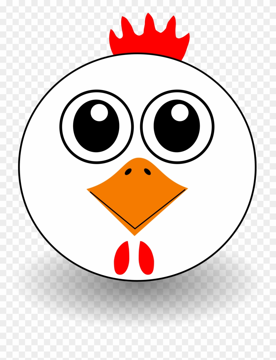 Funny Chicken Face Cartoon Clipart, Vector Clip Art.