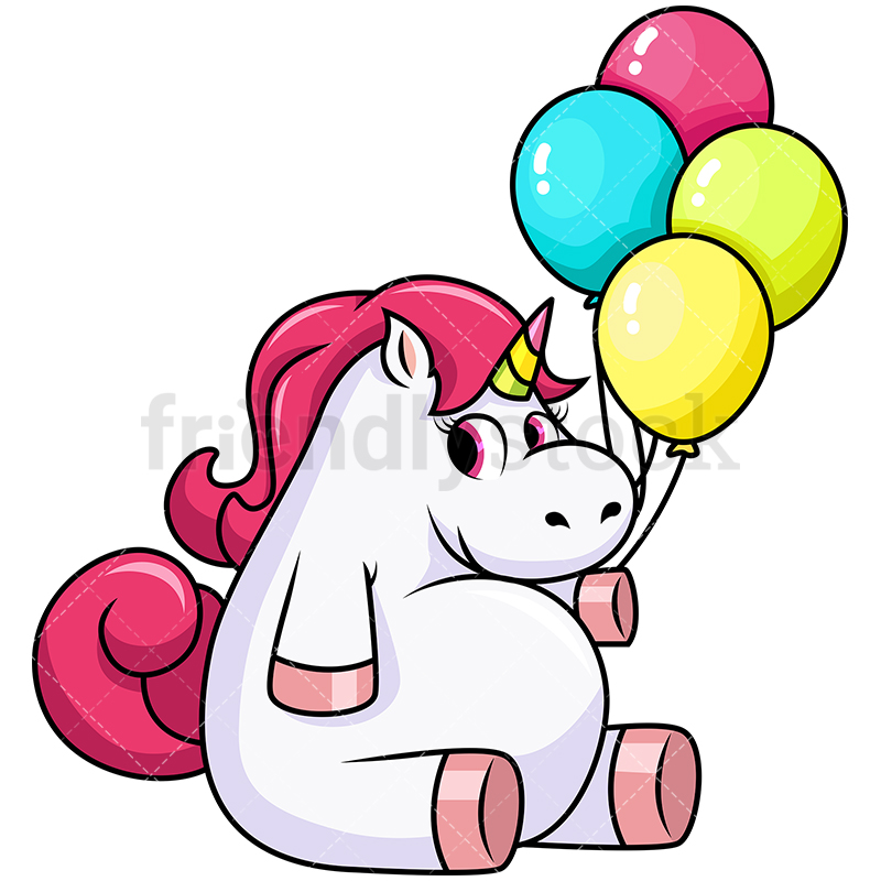 Cute Chubby Unicorn Holding Balloons.