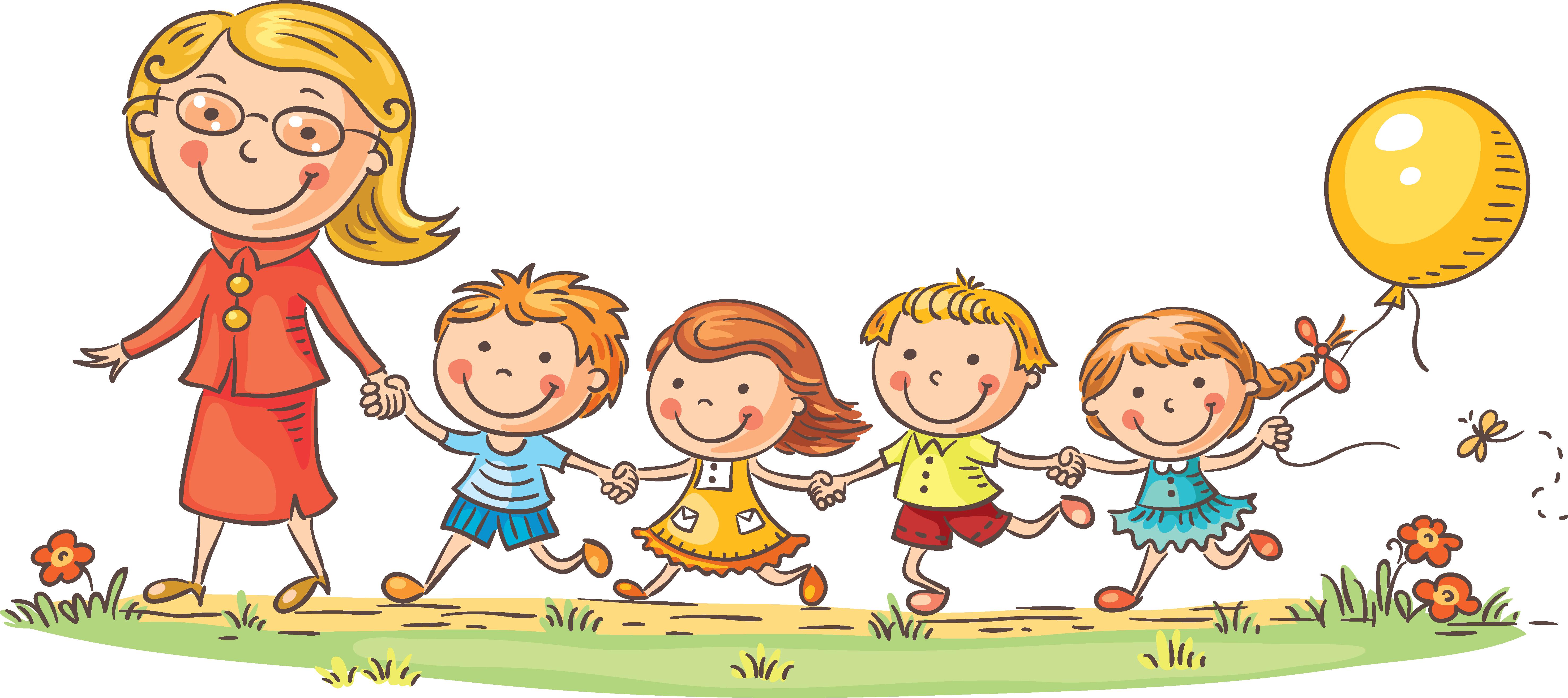 Download And Children Teacher Kindergarten Teachers Child Cartoon.