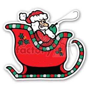 santa sleigh sticker clipart. Royalty.