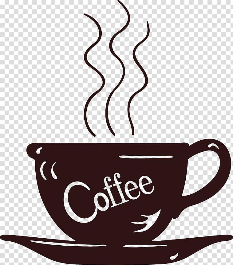 Coffee cup Cafe Wall decal Mug, Cartoon painted coffee cup.
