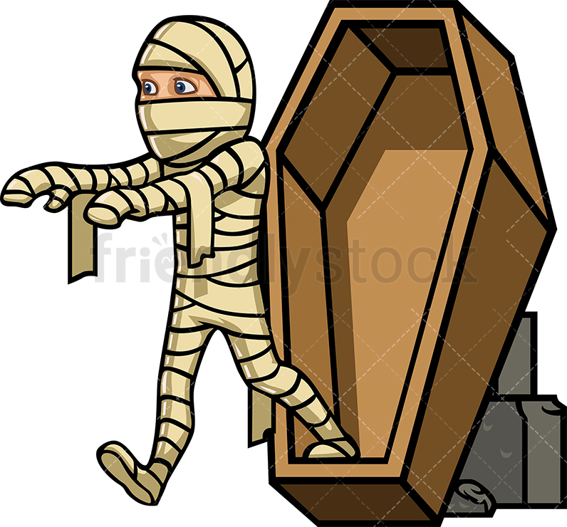 A Mummy Stepping Out Of A Coffin, Walking Like A Zombie.