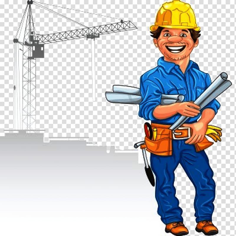 Cartoon Construction worker , engineer transparent background PNG.