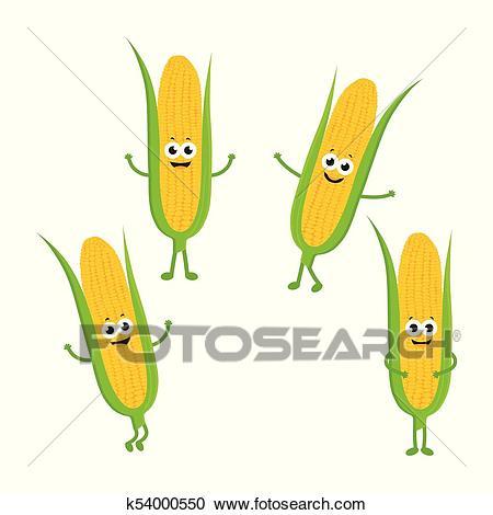 Set with cartoon corn Clipart.