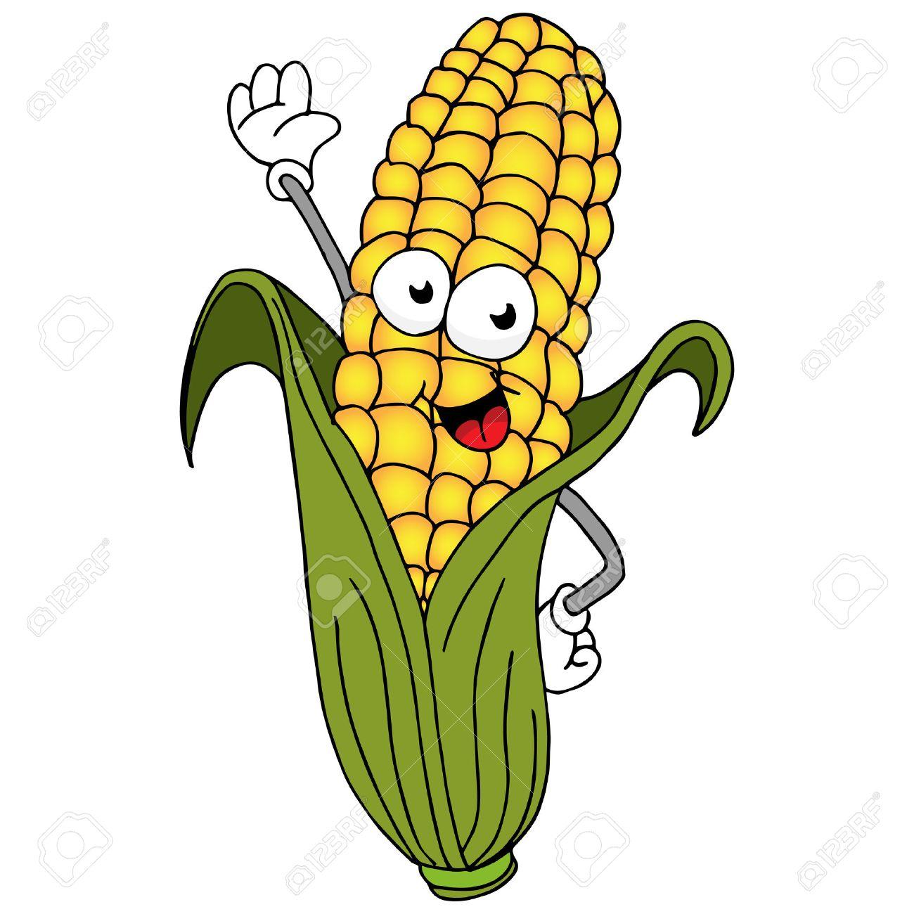 An image of a ear of corn cartoon character..