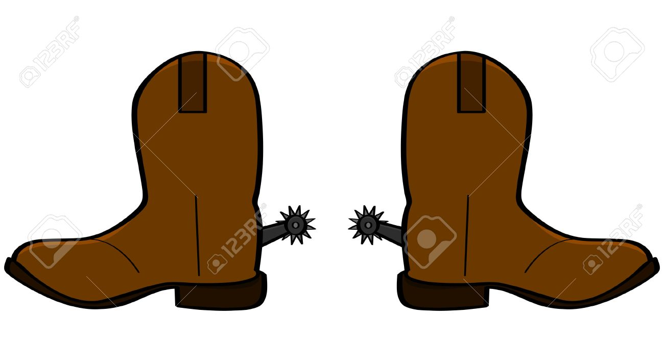 Cartoon illustration of a pair of leather cowboy boots.