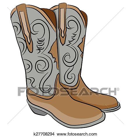 Cowboy Boots Cartoon Clipart.