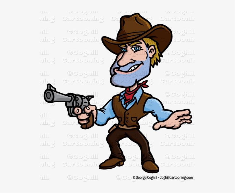 Cartoon Gunslinger Cowboy Clip Art Stock Illustration.
