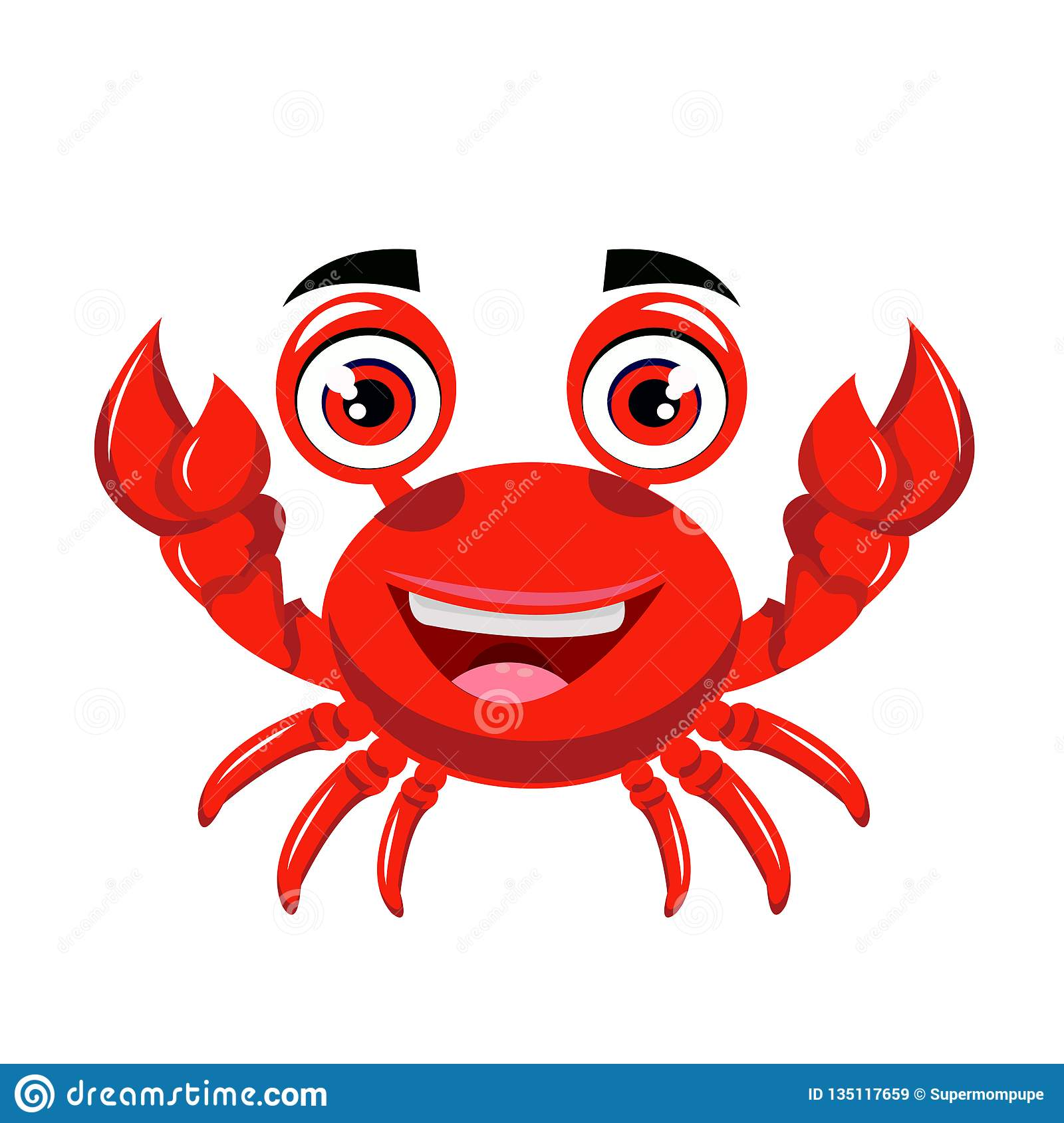 Crab Cartoon Or Crab Clipart Cartoon Isolated On White Background.