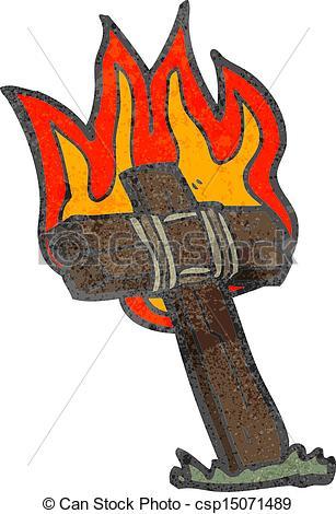 Vector of retro cartoon burning cross csp15071489.