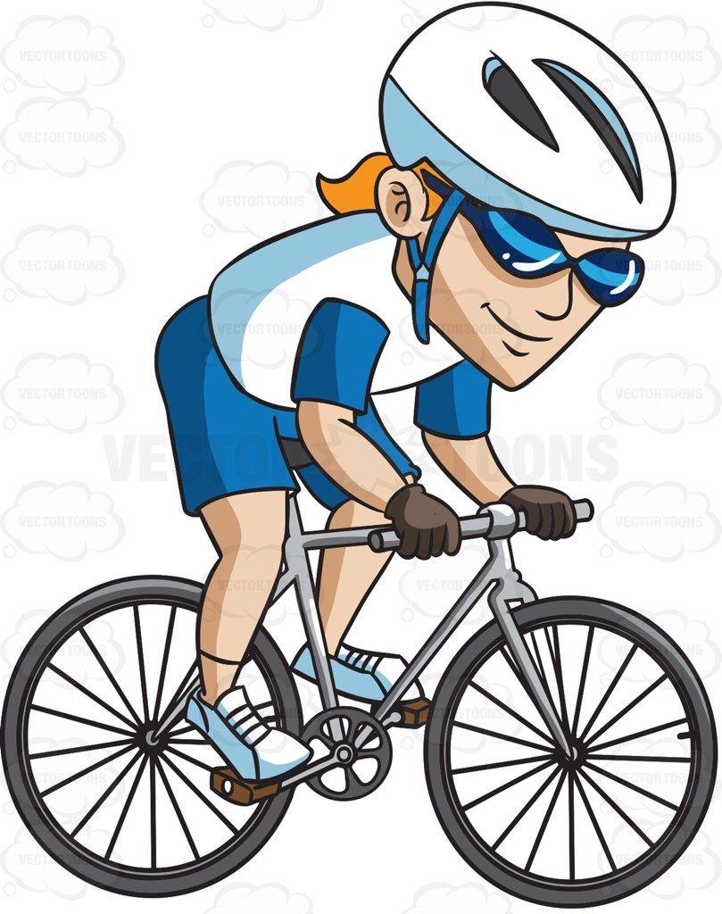 A man riding a mountain bike #cartoon #clipart #vector.