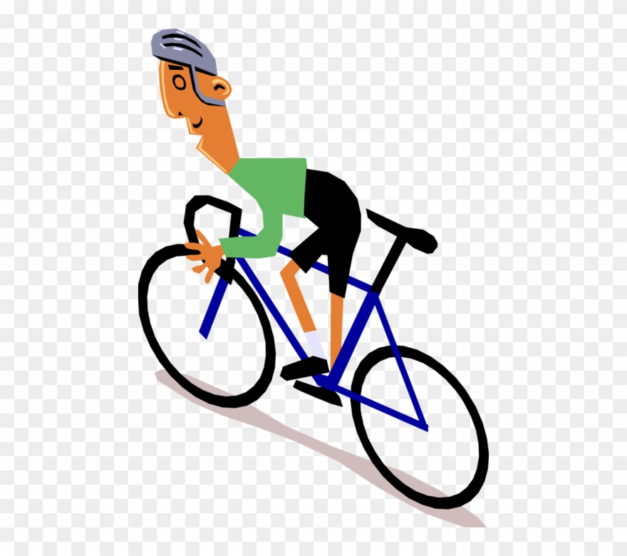 Vector Illustration Of Racing Cyclist Rides His Bicycle.