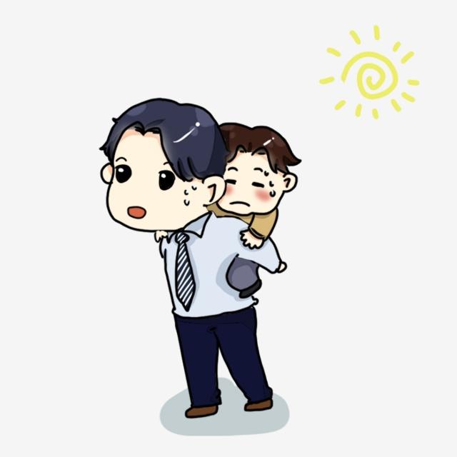 Cute Cartoon Dad S Hard Work Dad Back Child Family, Hot Weather, Kid.