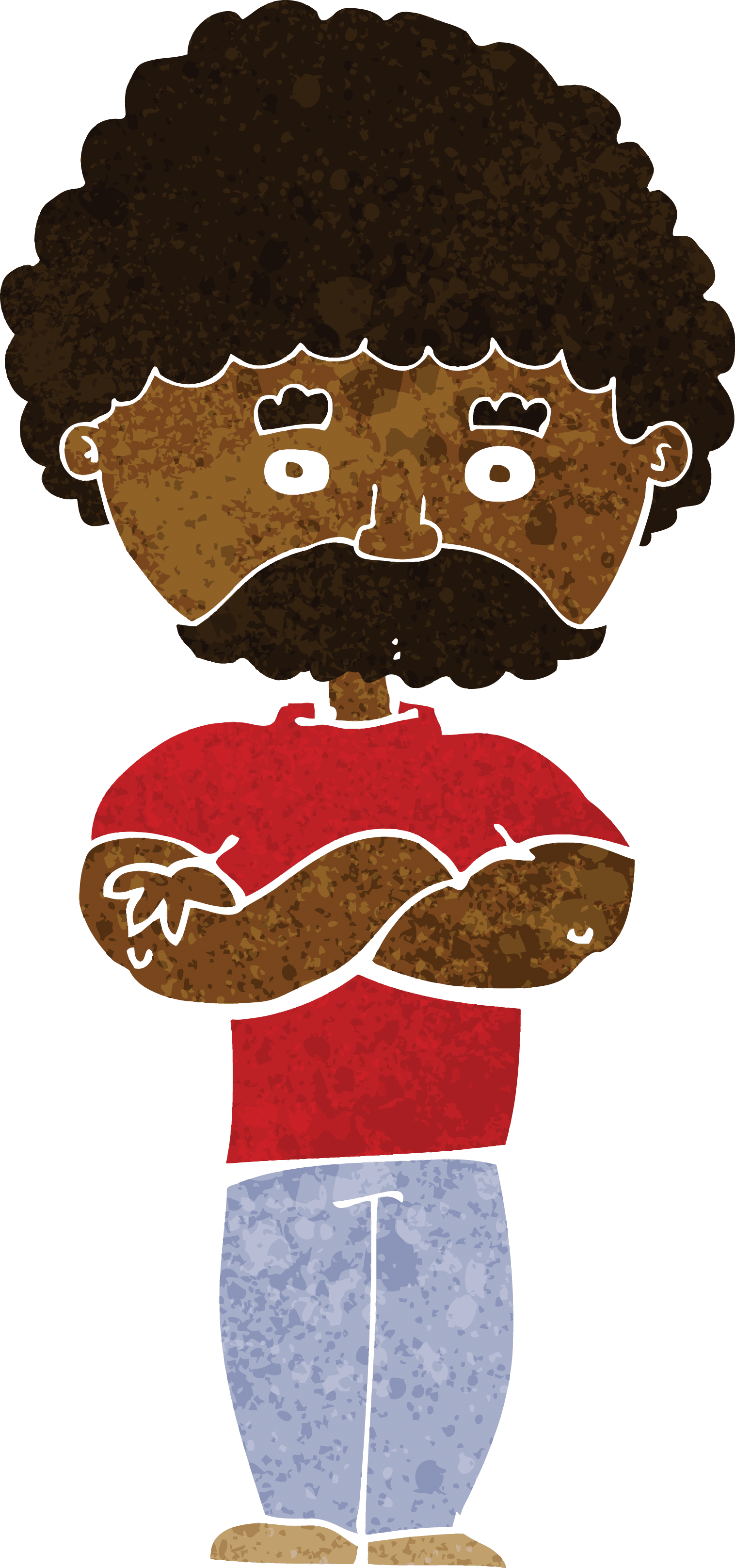 Cartoon Dad With Folded Arms.