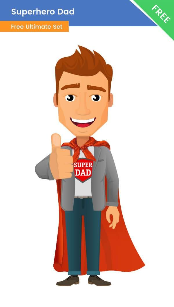 A superhero dad clipart with a logo SuperDad and a cape. This.