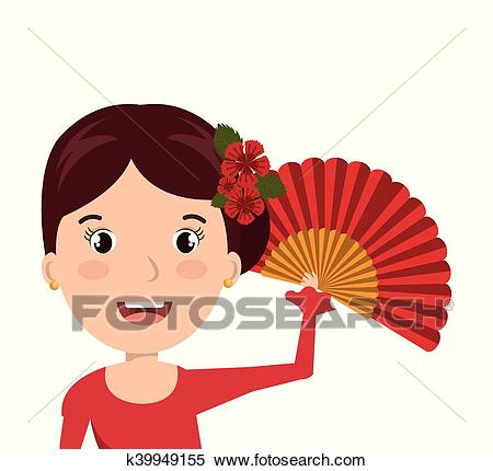 Woman cartoon dancer flamenco design Clipart.