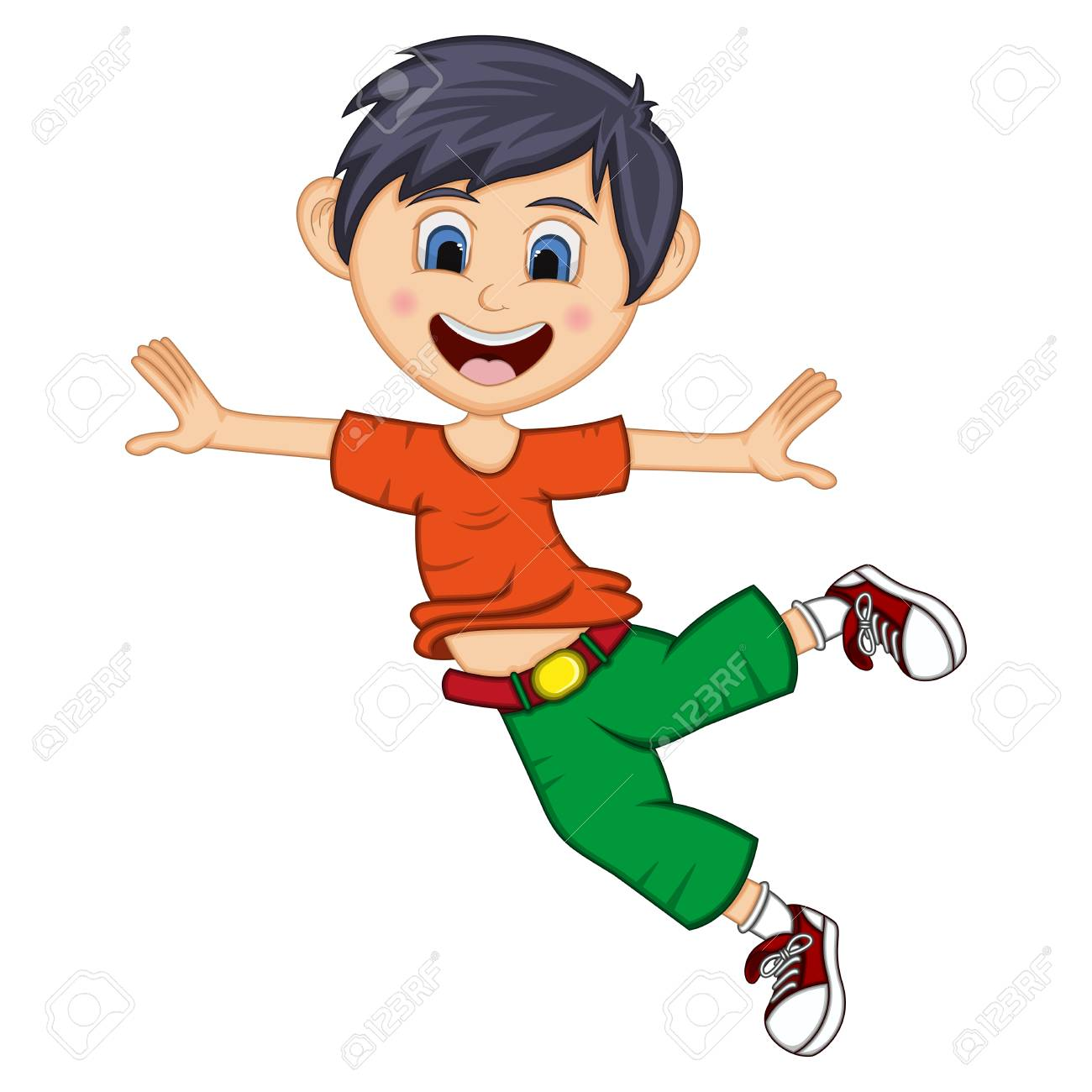 Little boy dancing and jump cartoon.