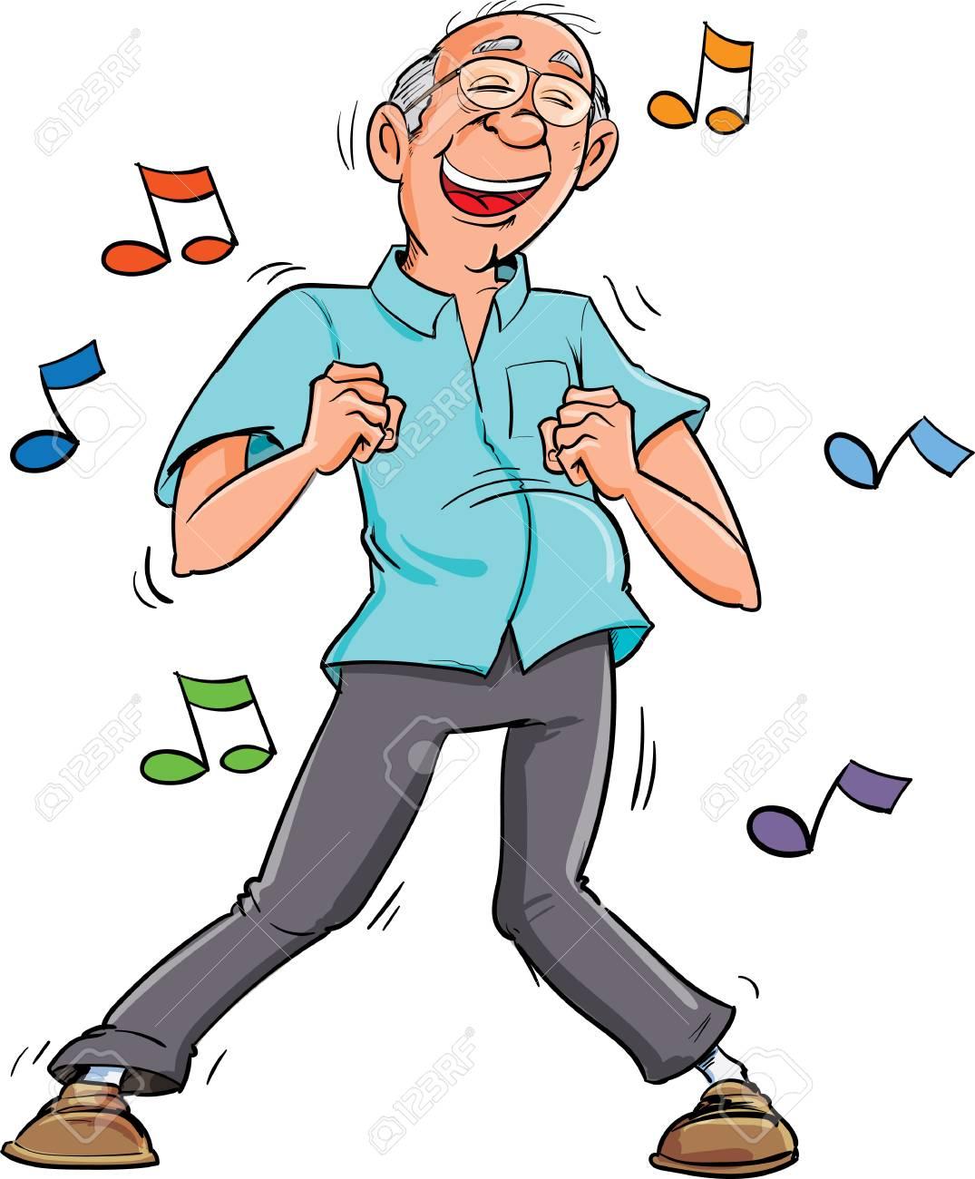 Cartoon old man dancing to music. His having fun.