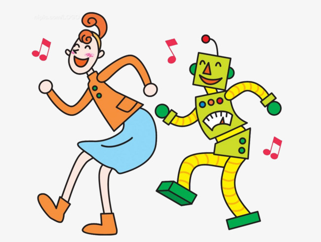 Cartoon dancing robot PNG clipart.