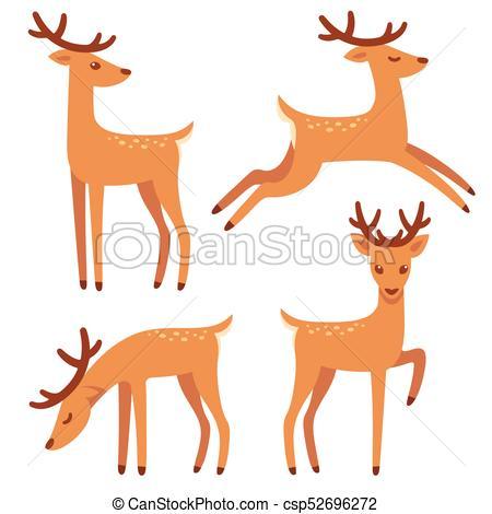 Cartoon deer set.