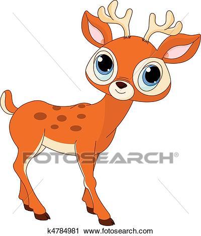 Beautiful cartoon deer Clipart.