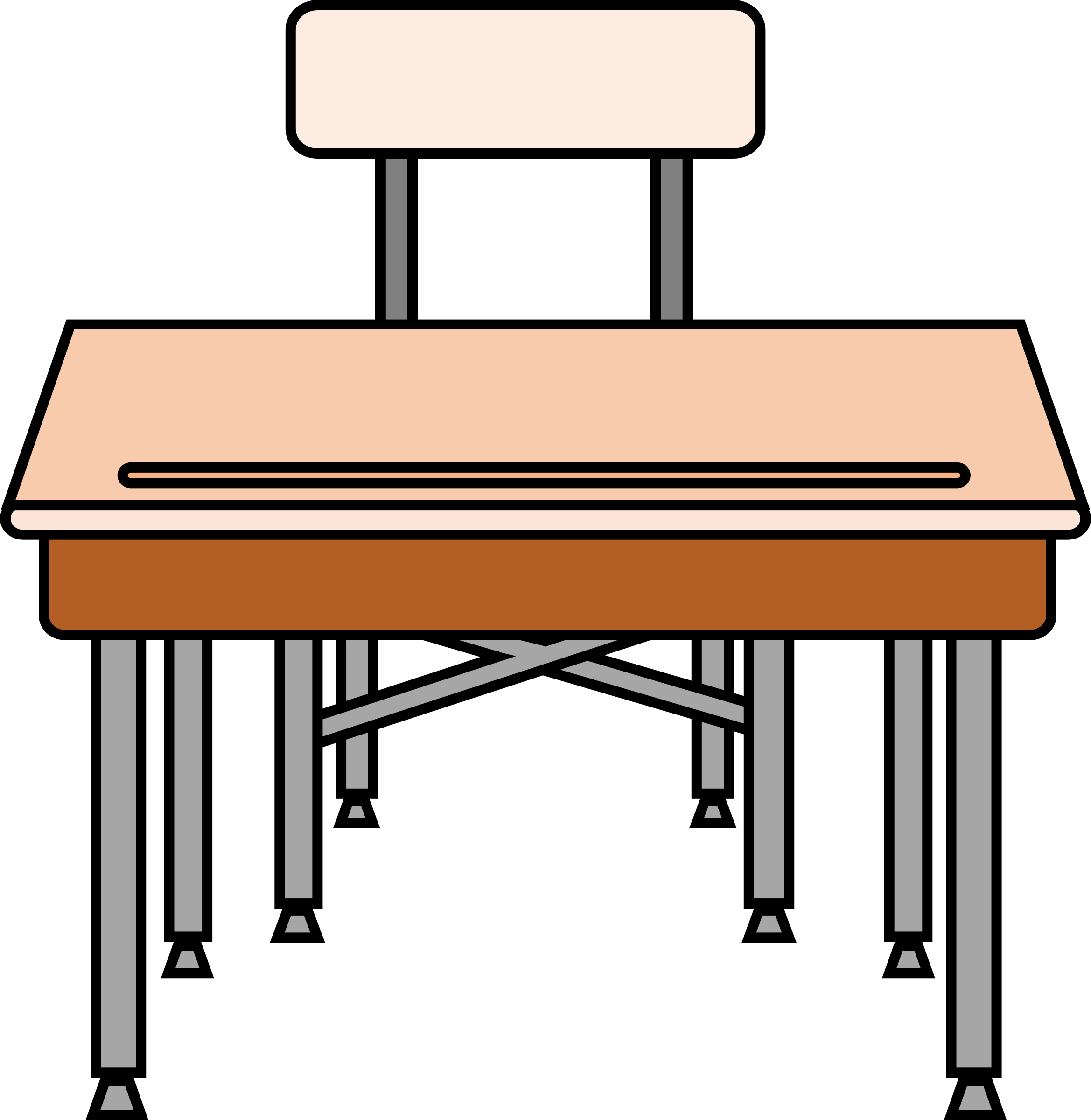 Student at desks clipart.