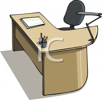 Royalty Free Clip Art Image: Modular Desk and Chair.