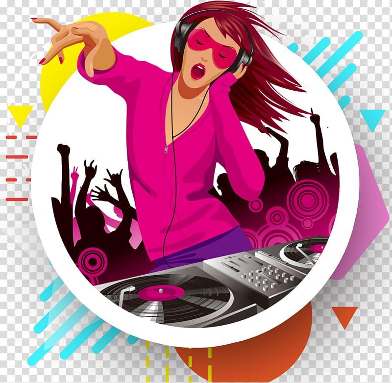 Female DJ illustration, Disc jockey Nightclub Girl.
