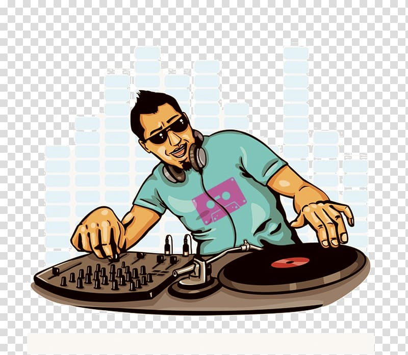 Man plying DJ mixer illustration, Disc jockey DJ mixer.